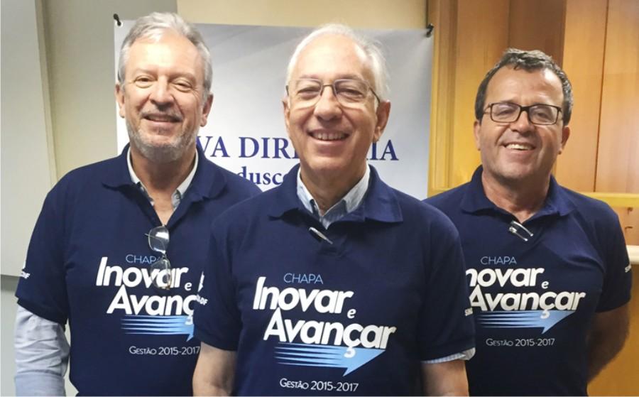 Da esquerda para direita: João Carlos Pimenta, Luiz Carlos Botelho e Dionyzio Klavdianos reforçam união da Construção Civil no Distrito Federal (Foto: Divulgação)
